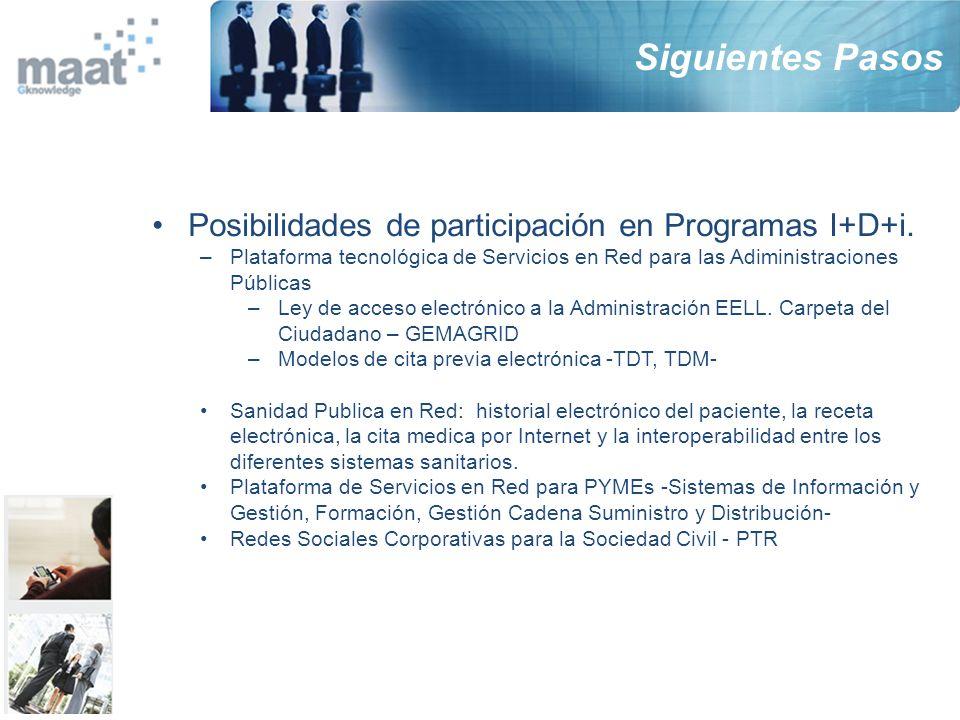 Siguientes Pasos Posibilidades de participación en Programas I+D+i.