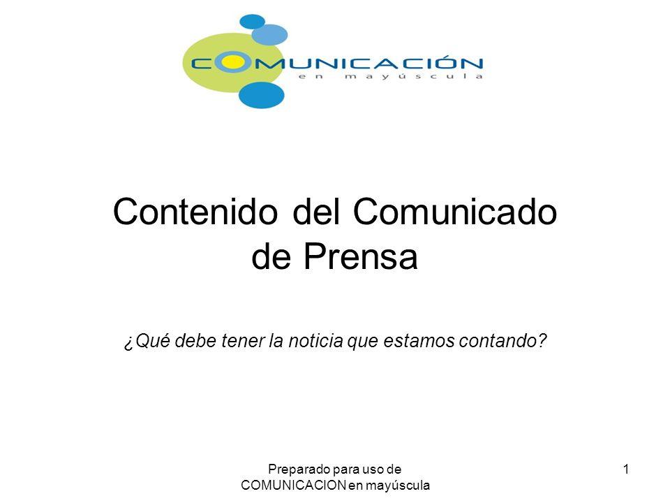 Contenido del Comunicado de Prensa