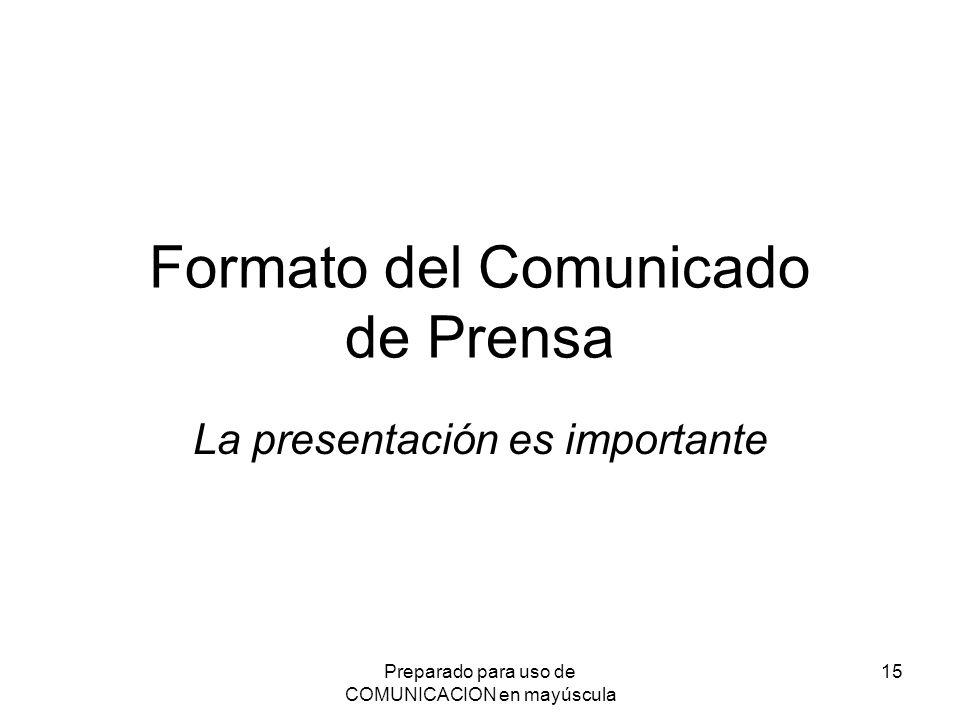 Formato del Comunicado de Prensa