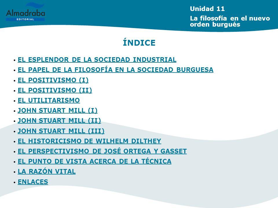 ÍNDICE Unidad 11 La filosofía en el nuevo orden burgués