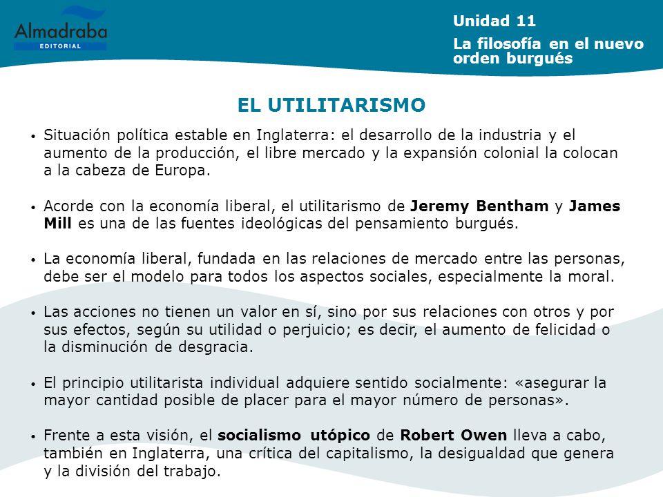 EL UTILITARISMO Unidad 11 La filosofía en el nuevo orden burgués