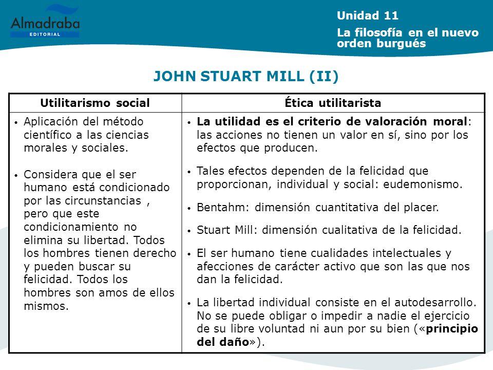 JOHN STUART MILL (II) Unidad 11 La filosofía en el nuevo orden burgués