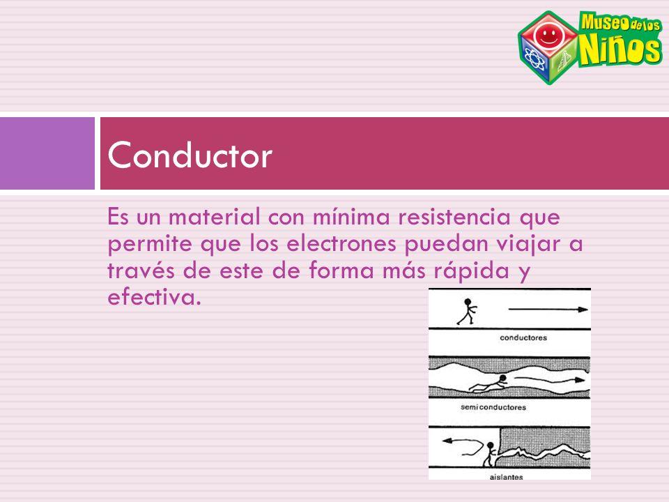 Conductor Es un material con mínima resistencia que permite que los electrones puedan viajar a través de este de forma más rápida y efectiva.