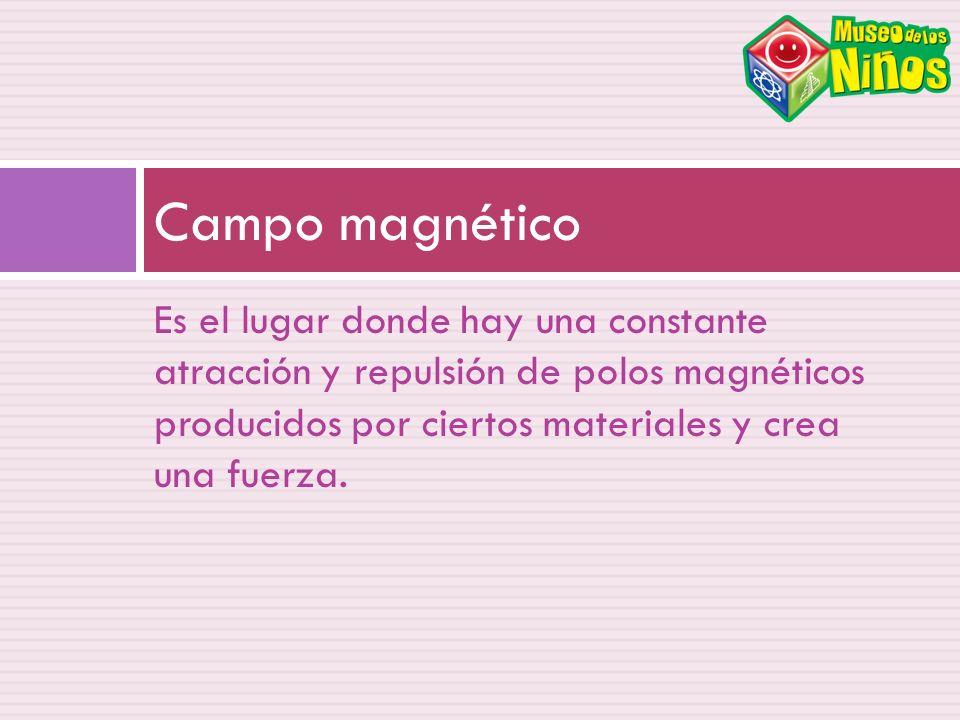Campo magnético Es el lugar donde hay una constante atracción y repulsión de polos magnéticos producidos por ciertos materiales y crea una fuerza.