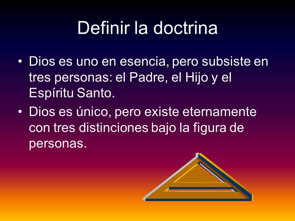 Definir la doctrina Dios es uno en esencia, pero subsiste en tres personas: el Padre, el Hijo y el Espíritu Santo.