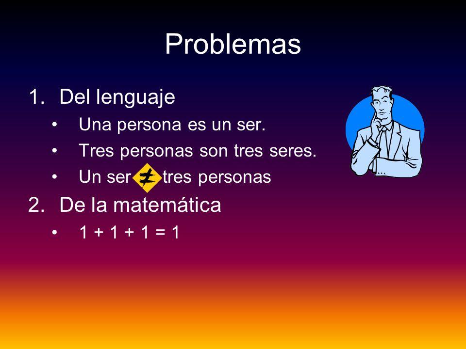 Problemas Del lenguaje De la matemática Una persona es un ser.