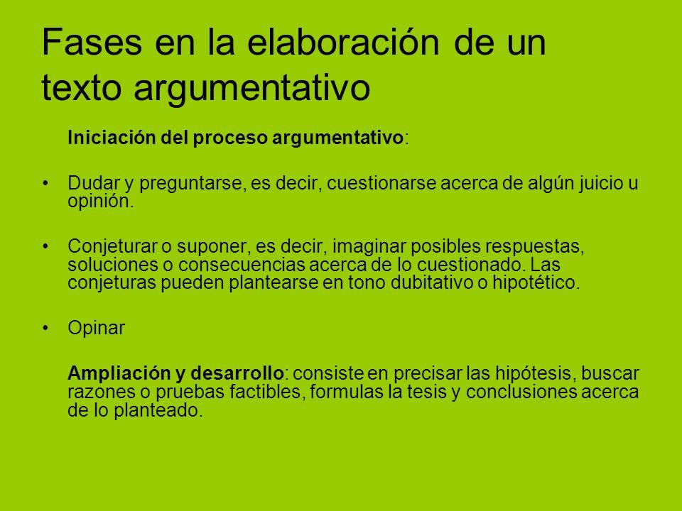 Fases en la elaboración de un texto argumentativo