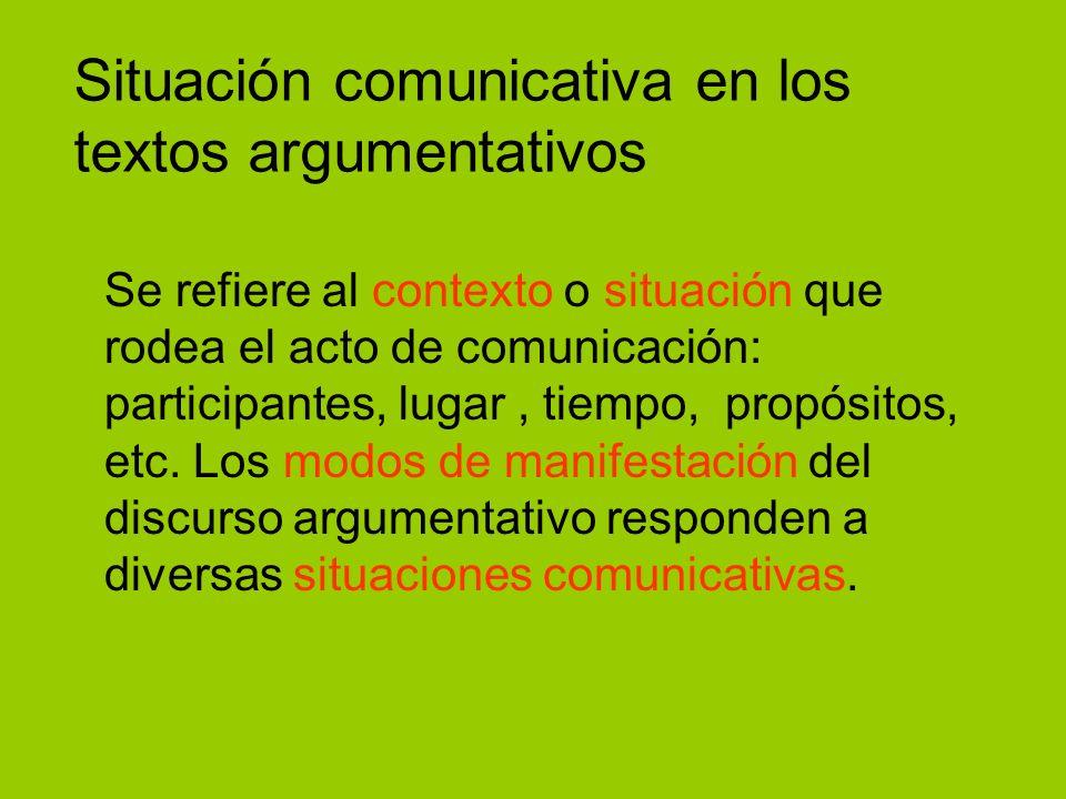 Situación comunicativa en los textos argumentativos