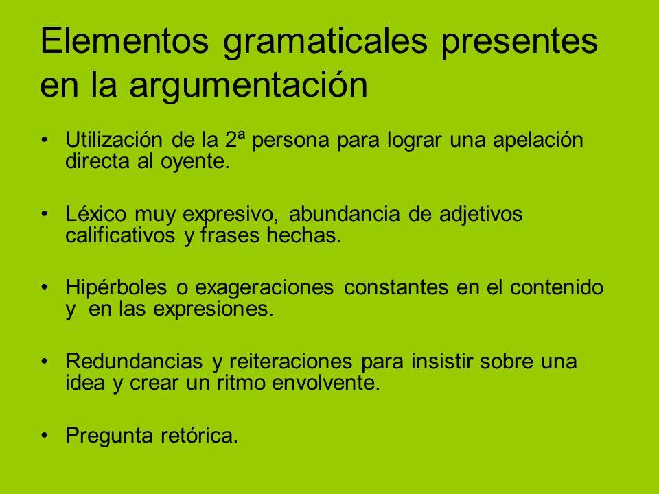 Elementos gramaticales presentes en la argumentación