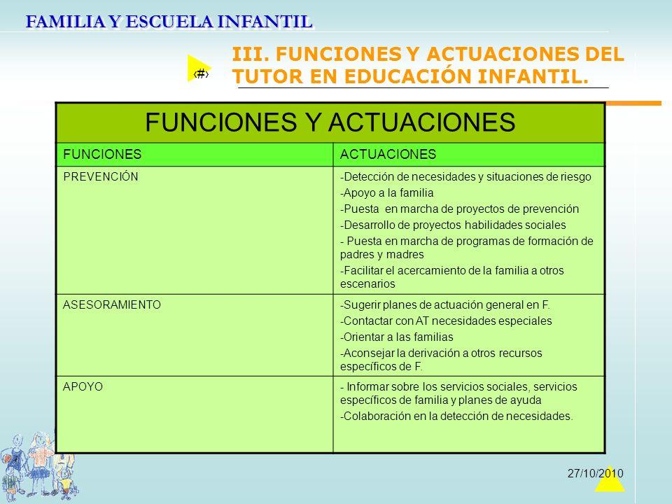 III. FUNCIONES Y ACTUACIONES DEL TUTOR EN EDUCACIÓN INFANTIL.