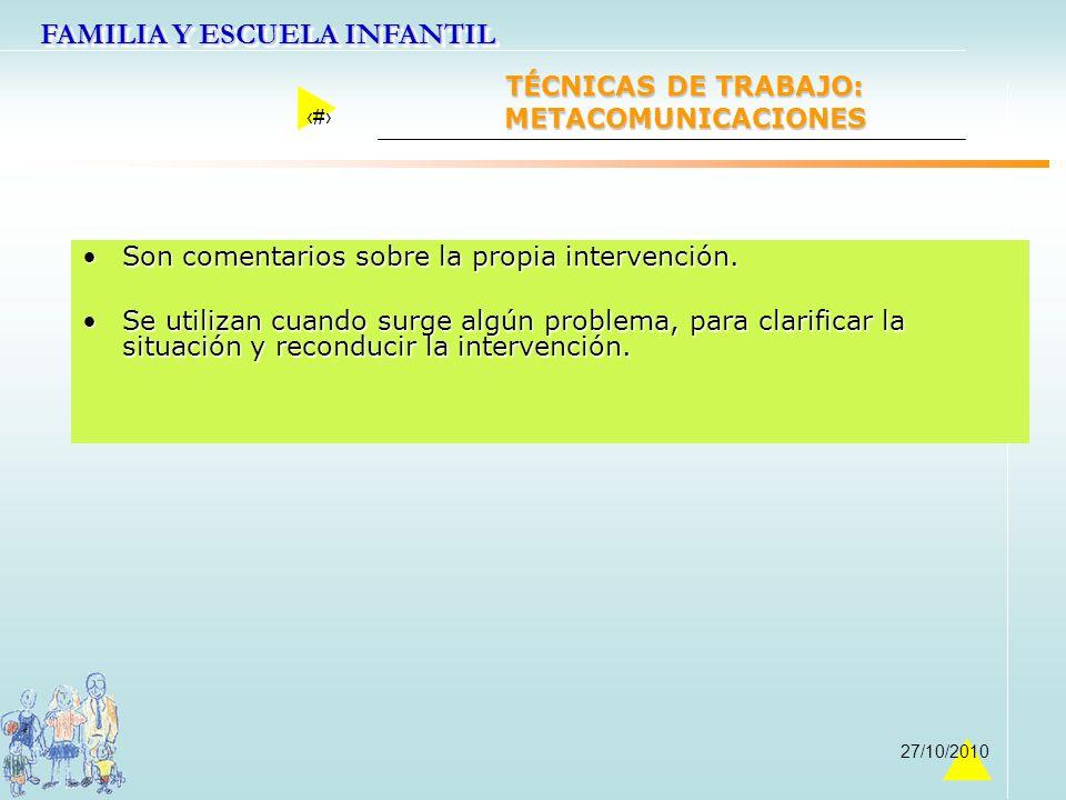TÉCNICAS DE TRABAJO: METACOMUNICACIONES