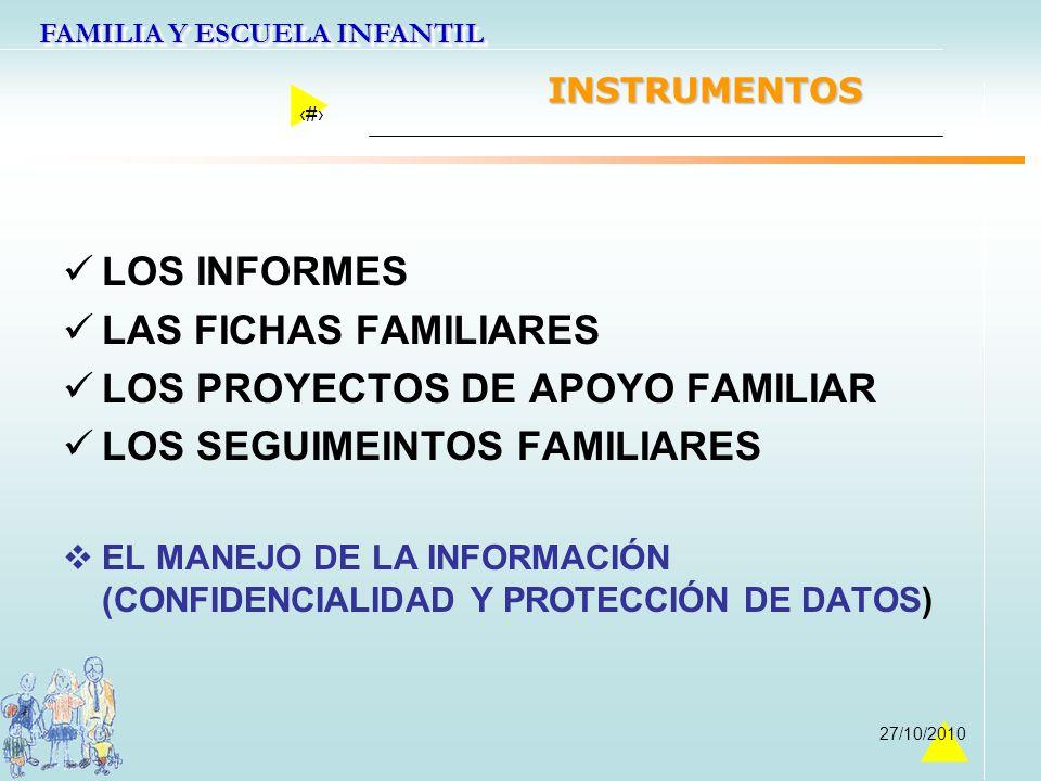 LOS PROYECTOS DE APOYO FAMILIAR LOS SEGUIMEINTOS FAMILIARES