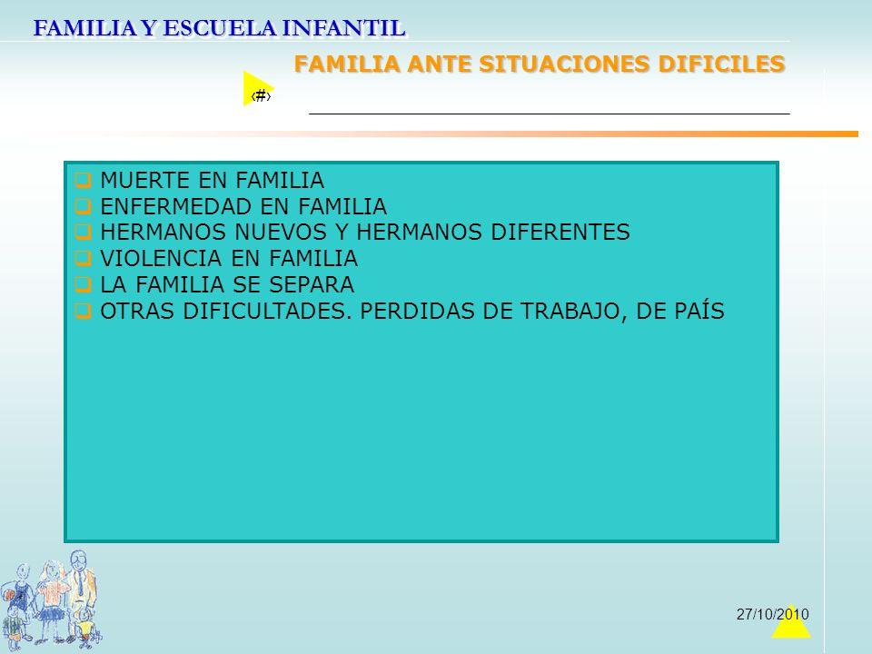 FAMILIA ANTE SITUACIONES DIFICILES