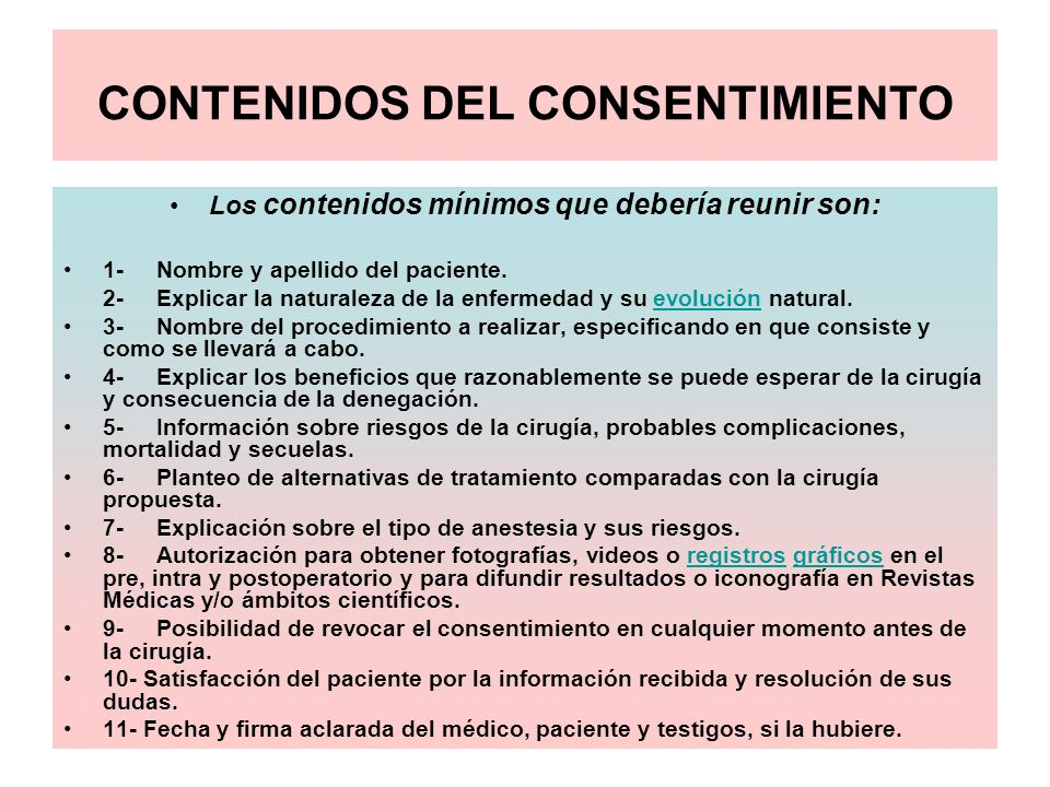 CONTENIDOS DEL CONSENTIMIENTO