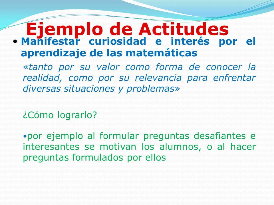 Ejemplo de Actitudes Manifestar curiosidad e interés por el aprendizaje de las matemáticas.