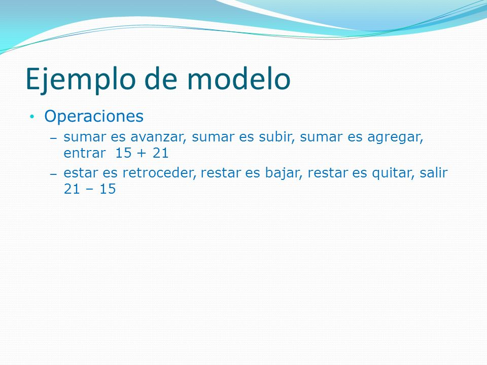 Ejemplo de modelo Operaciones