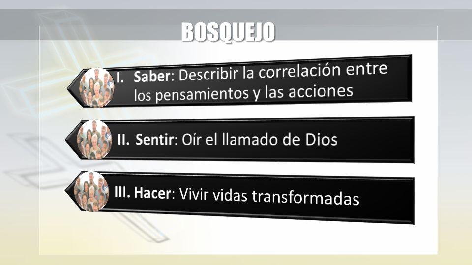 BOSQUEJO I. Saber: Describir la correlación entre los pensamientos y las acciones. II. Sentir: Oír el llamado de Dios.