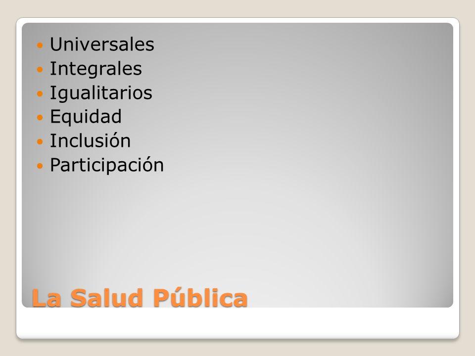 La Salud Pública Universales Integrales Igualitarios Equidad Inclusión