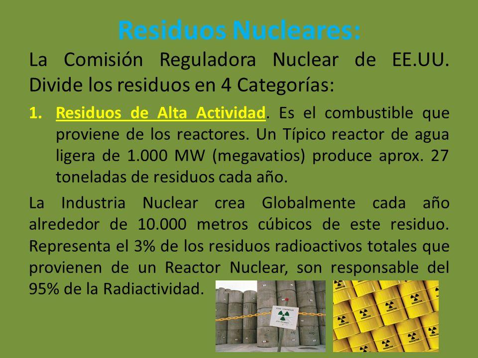 Residuos Nucleares: La Comisión Reguladora Nuclear de EE.UU. Divide los residuos en 4 Categorías: