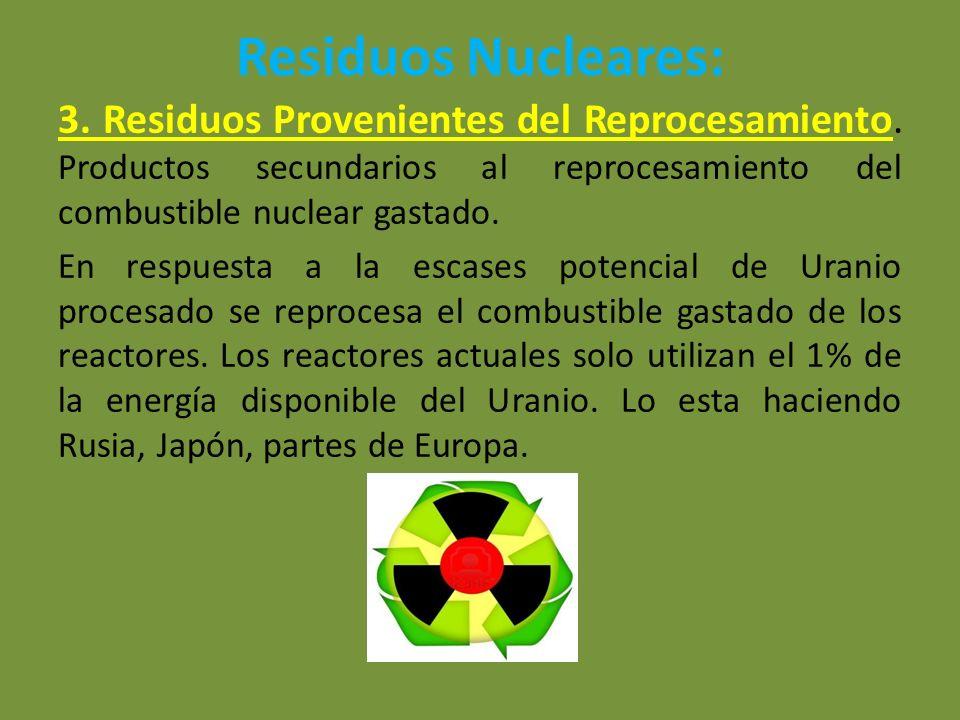 Residuos Nucleares: 3. Residuos Provenientes del Reprocesamiento. Productos secundarios al reprocesamiento del combustible nuclear gastado.