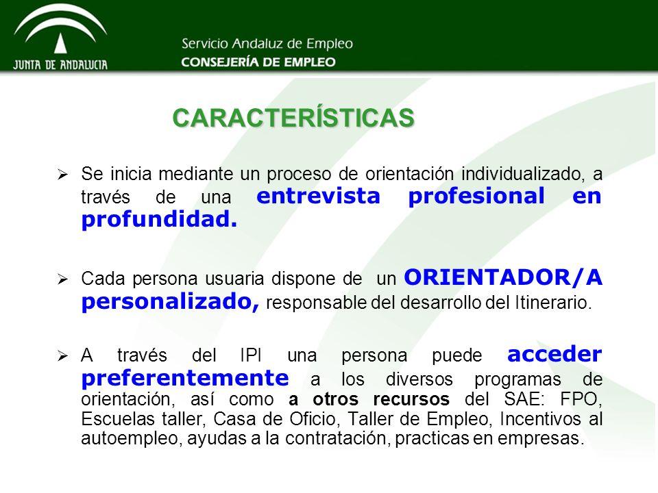 CARACTERÍSTICAS Se inicia mediante un proceso de orientación individualizado, a través de una entrevista profesional en profundidad.