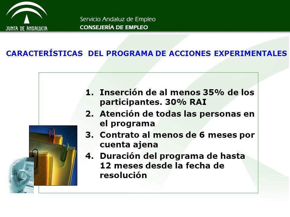 CARACTERÍSTICAS DEL PROGRAMA DE ACCIONES EXPERIMENTALES
