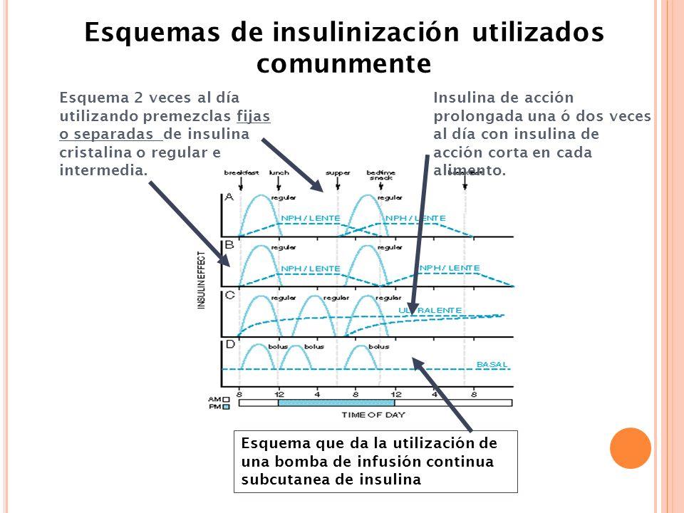 Esquemas de insulinización utilizados comunmente