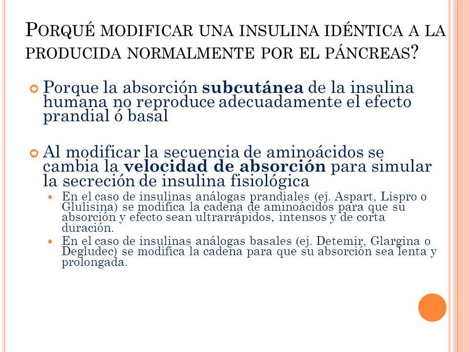 Porqué modificar una insulina idéntica a la producida normalmente por el páncreas