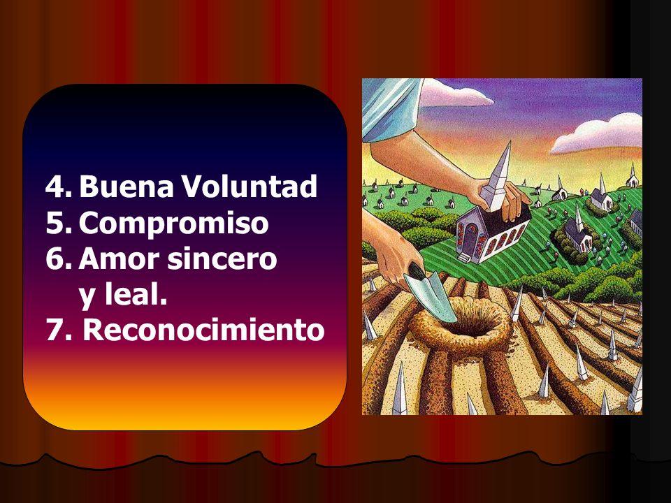 Buena Voluntad Compromiso Amor sincero y leal. 7. Reconocimiento