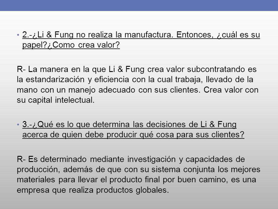 2. -¿Li & Fung no realiza la manufactura. Entonces, ¿cuál es su papel