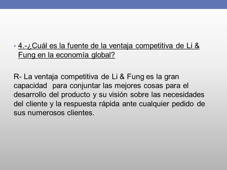 4.-¿Cuál es la fuente de la ventaja competitiva de Li & Fung en la economía global