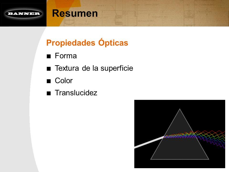 Resumen Propiedades Ópticas Forma Textura de la superficie Color