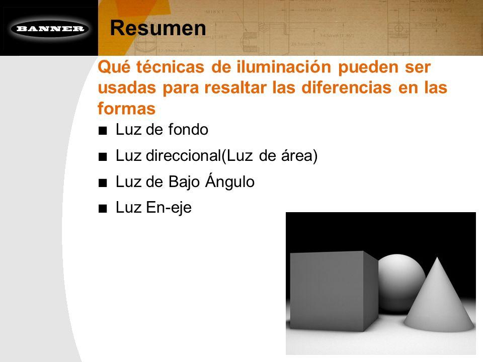 Resumen Qué técnicas de iluminación pueden ser usadas para resaltar las diferencias en las formas.