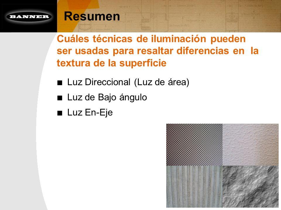 Resumen Cuáles técnicas de iluminación pueden ser usadas para resaltar diferencias en la textura de la superficie.