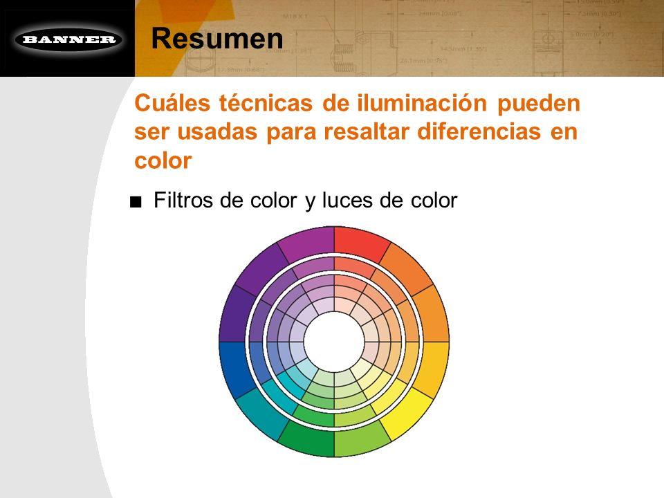 ResumenCuáles técnicas de iluminación pueden ser usadas para resaltar diferencias en color.