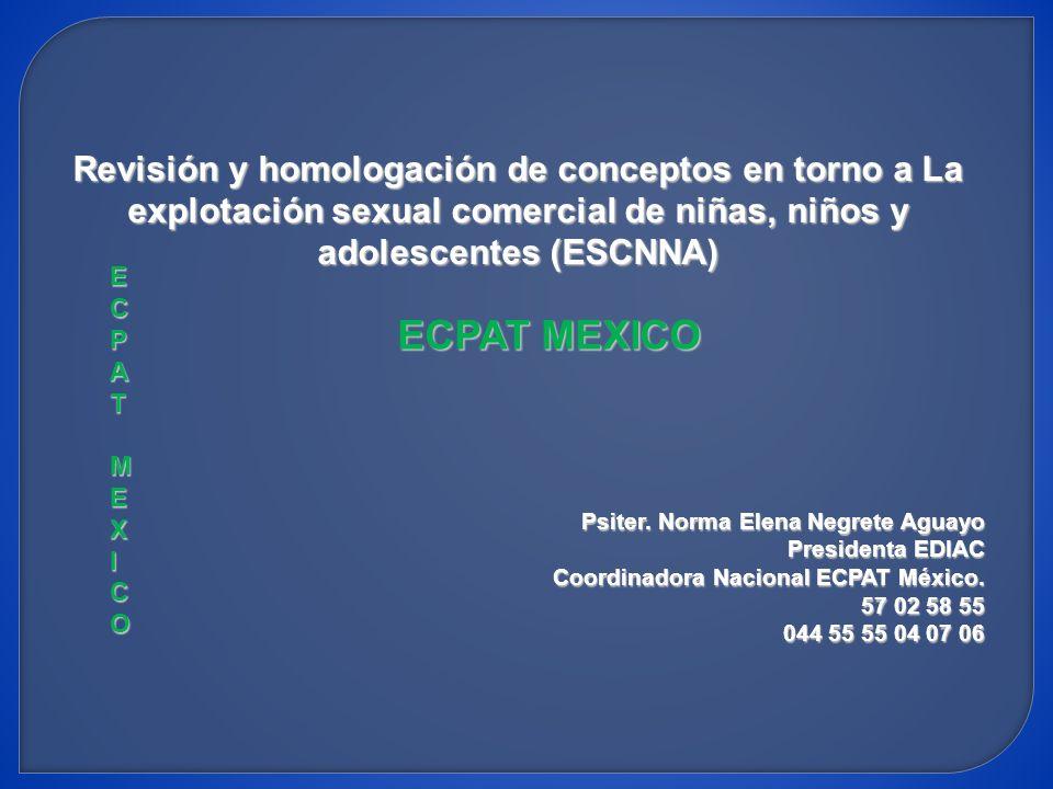 Revisión y homologación de conceptos en torno a La explotación sexual comercial de niñas, niños y adolescentes (ESCNNA)