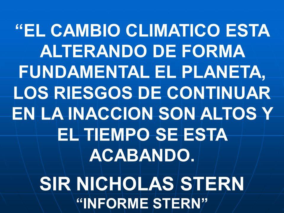 EL CAMBIO CLIMATICO ESTA ALTERANDO DE FORMA FUNDAMENTAL EL PLANETA, LOS RIESGOS DE CONTINUAR EN LA INACCION SON ALTOS Y EL TIEMPO SE ESTA ACABANDO.