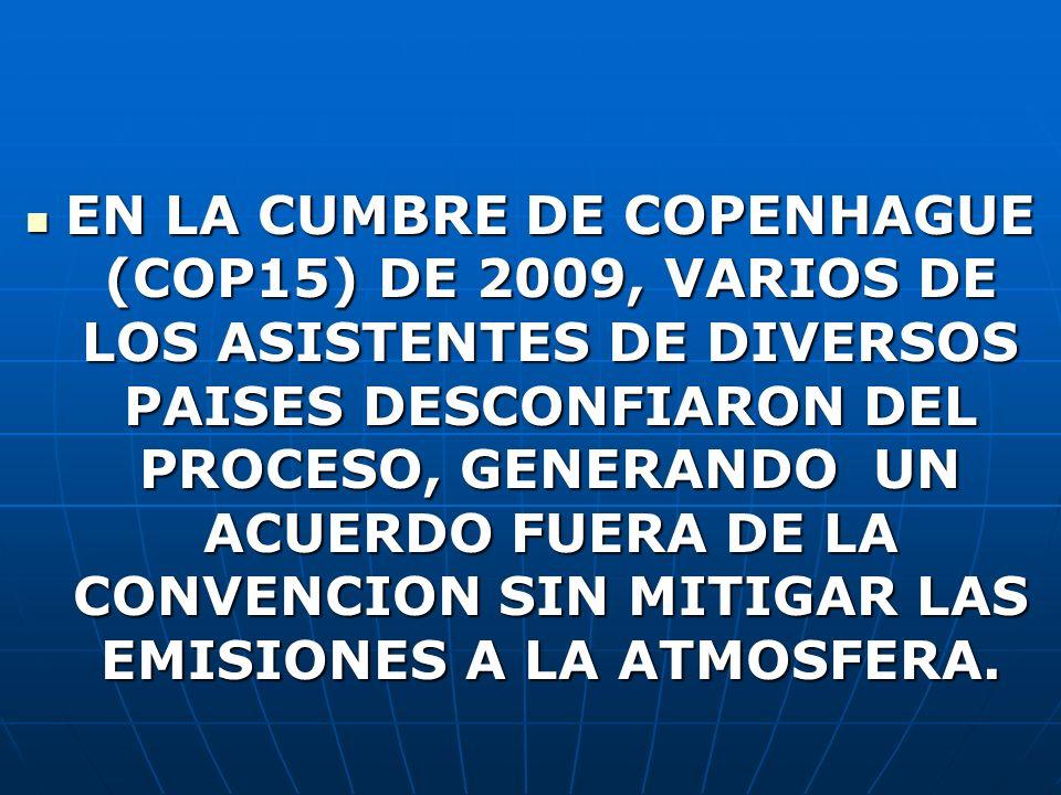 EN LA CUMBRE DE COPENHAGUE (COP15) DE 2009, VARIOS DE LOS ASISTENTES DE DIVERSOS PAISES DESCONFIARON DEL PROCESO, GENERANDO UN ACUERDO FUERA DE LA CONVENCION SIN MITIGAR LAS EMISIONES A LA ATMOSFERA.