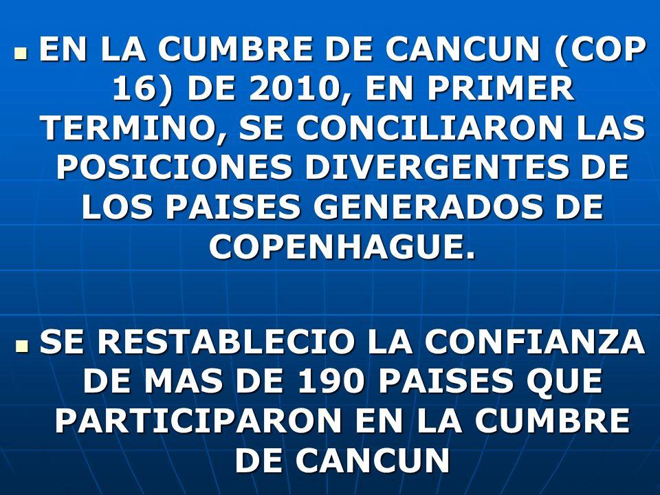 EN LA CUMBRE DE CANCUN (COP 16) DE 2010, EN PRIMER TERMINO, SE CONCILIARON LAS POSICIONES DIVERGENTES DE LOS PAISES GENERADOS DE COPENHAGUE.