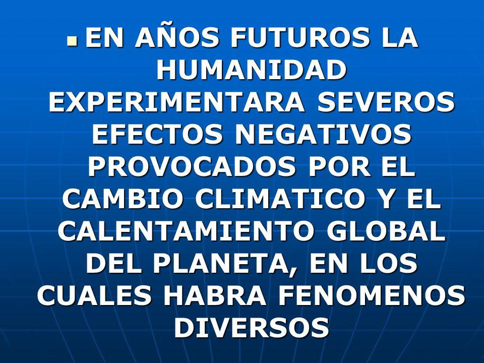 EN AÑOS FUTUROS LA HUMANIDAD EXPERIMENTARA SEVEROS EFECTOS NEGATIVOS PROVOCADOS POR EL CAMBIO CLIMATICO Y EL CALENTAMIENTO GLOBAL DEL PLANETA, EN LOS CUALES HABRA FENOMENOS DIVERSOS