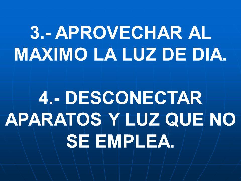 4.- DESCONECTAR APARATOS Y LUZ QUE NO SE EMPLEA.