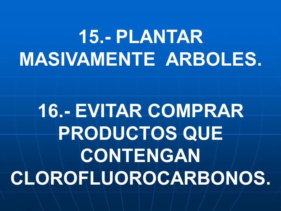16.- EVITAR COMPRAR PRODUCTOS QUE CONTENGAN CLOROFLUOROCARBONOS.