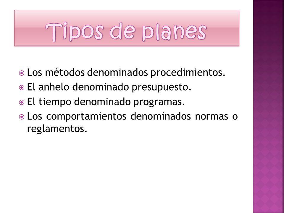 Tipos de planes Los métodos denominados procedimientos.