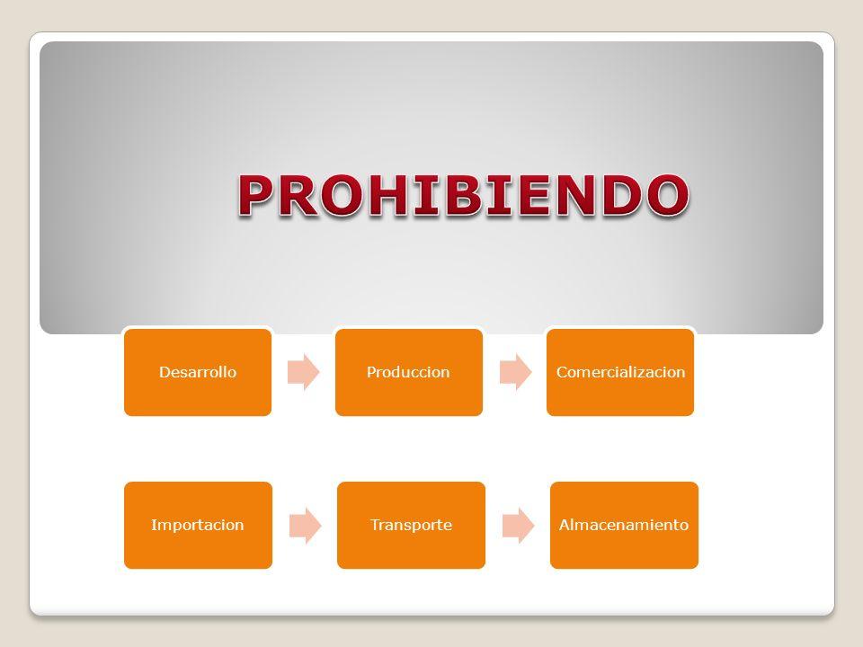 PROHIBIENDO Desarrollo Produccion Comercializacion Importacion