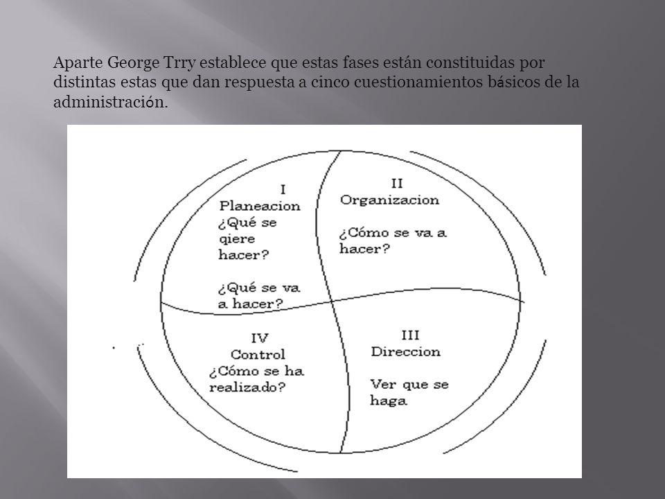 Aparte George Trry establece que estas fases están constituidas por distintas estas que dan respuesta a cinco cuestionamientos básicos de la administración.