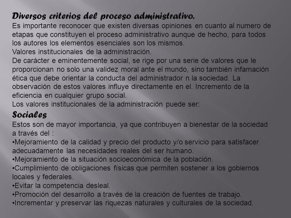 Diversos criterios del proceso administrativo.