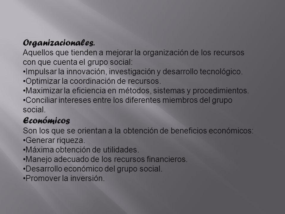 Organizacionales. Económicos