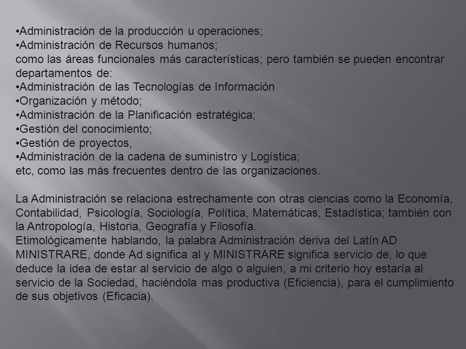 Administración de la producción u operaciones;