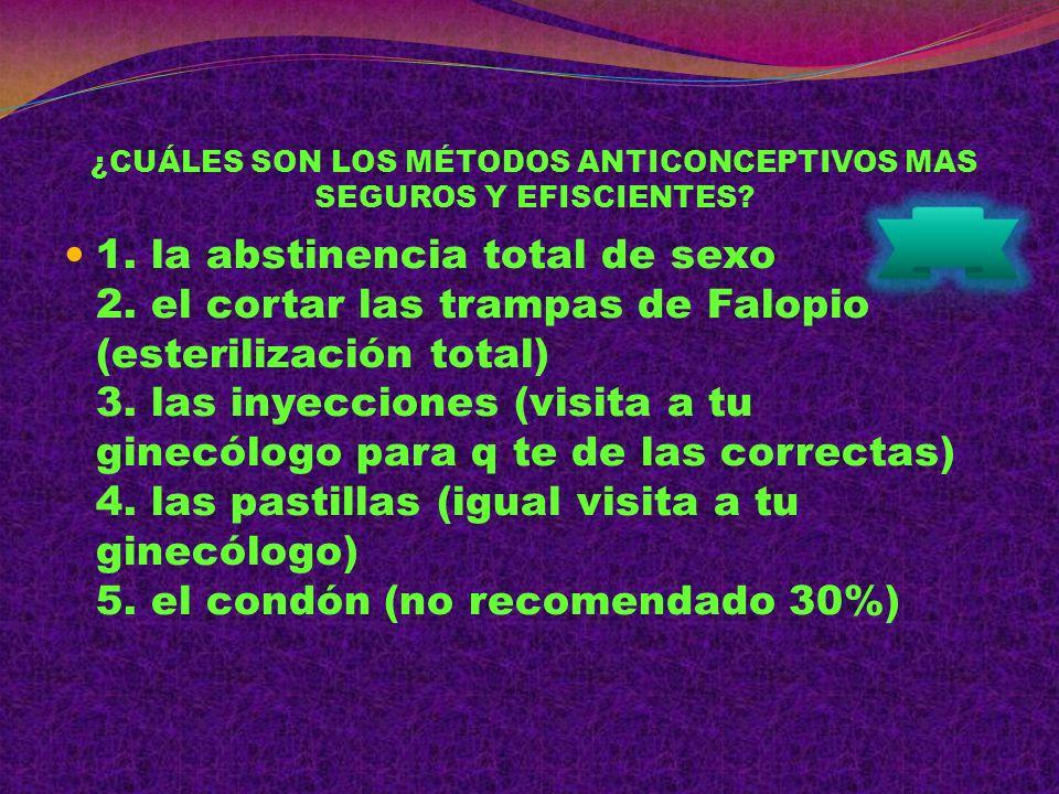 ¿CUÁLES SON LOS MÉTODOS ANTICONCEPTIVOS MAS SEGUROS Y EFISCIENTES