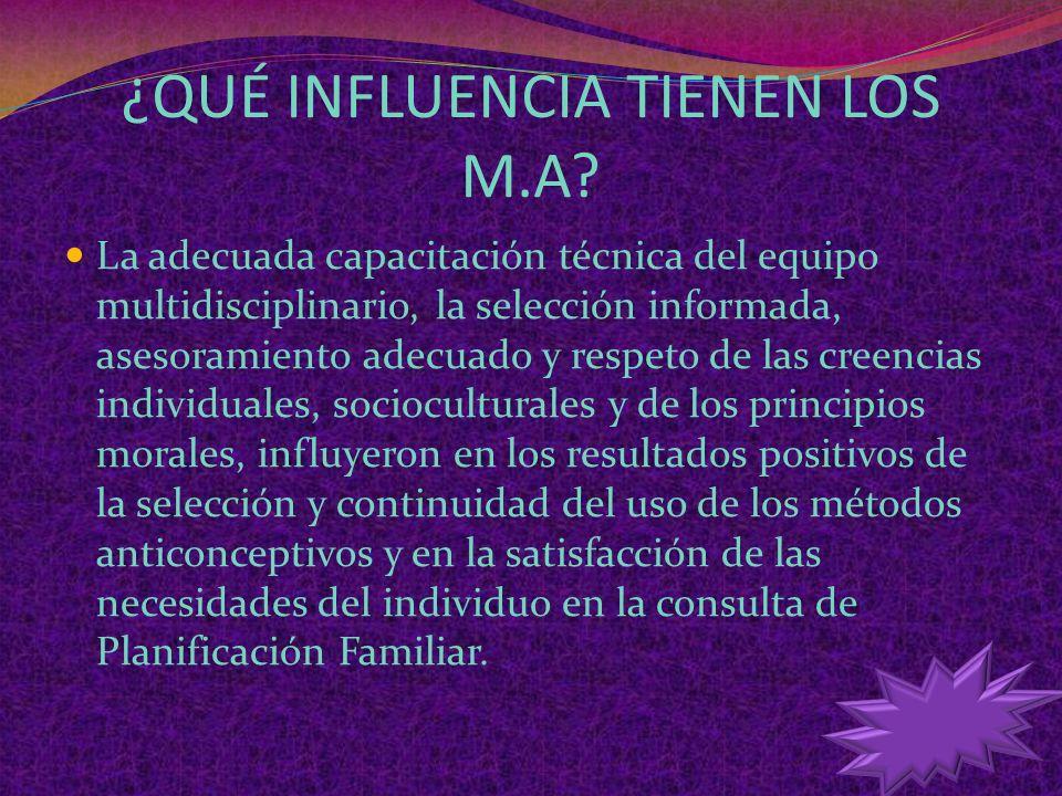 ¿QUÉ INFLUENCIA TIENEN LOS M.A